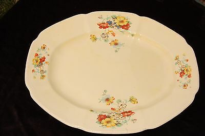 Vintage Platter Oval Glass Floral Edwin Knowles