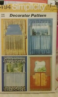 Vintage 1972 Simplicity 5494, Window Curtain And Valance Sewing Pattern