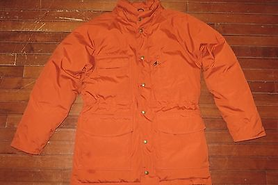 Vintage 80s Eddie Bauer Mens Medium Orange Goose Down Shell Jacket