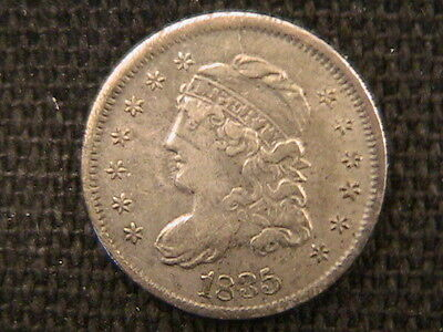 1835 Capped Bust Dime! Large Date Large 5 Better Grade Type Silver Coin!