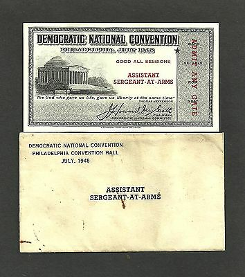 RARE 1948 DEMOCRATIC CONVENTION ASST SERGENT-AT-ARMS PERSONAL TICKET w/ ENVELOPE
