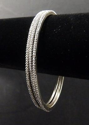 Set of 3 Diamond Bangles Micro Pave .75 Ct 14K White Gold Bloomingdales $3325 ea