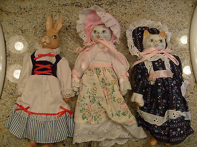 3 Handmade Bisque Dolls, Rabbit & 2 Cats, w/Clothes & Bonnets