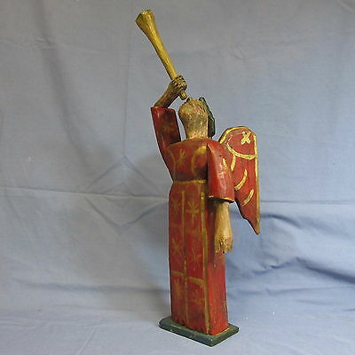 "MJ-Hand carved painted wood Folk Art Santos- Guatemala Red Angel+horn-  20"" tall"