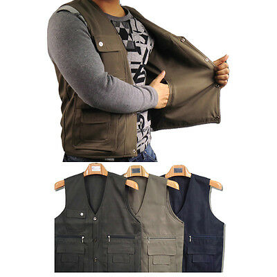 Best 3 Colors Outdoor Camping Hiking Adult Mens Multi Pockets Casual Vest IN945
