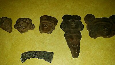 Ancient Pottery Fragment Heads Faces Pre-Columbian Lot of 5 w Copper Shard