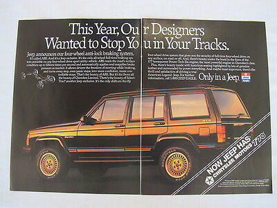 1989 Chrysler Jeep Cherokee Limited 4 x4 Advertising 2 page Print Ad