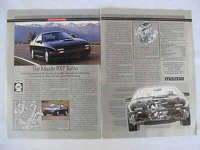 1989 Mazda RX-7 Turbo Advertising 2 Page Print Ad Road Report Article