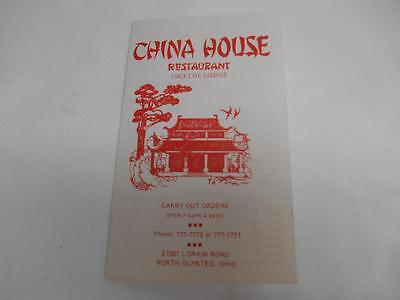 Old Vtg 1970's CHINA HOUSE RESTAURANT MENU North Olmsted Ohio Advertising