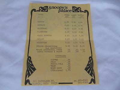 Old Vtg SNOOPY'S PALACE PIZZA MENU Restaurant Advertising Elyria Ohio