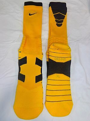 CLEARANCE 3 Pairs Nike Elite Vapor Cushioned  Socks Gold and Black XL 12-15