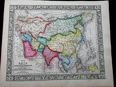 Asia showing Political Divisions Arabia China 1863 Mitchell variant antique map