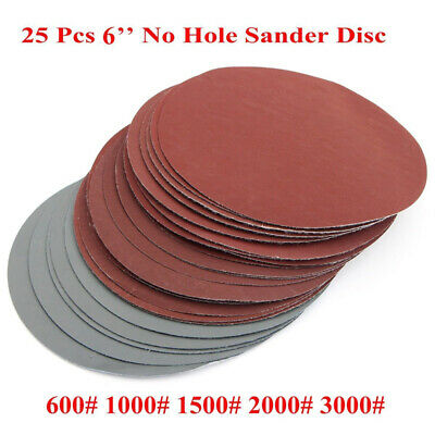"25Pcs 6"" Grit Sanding Discs Hook Loop 600# 1000# 1500# 2000# 3000# Sandpaper New"