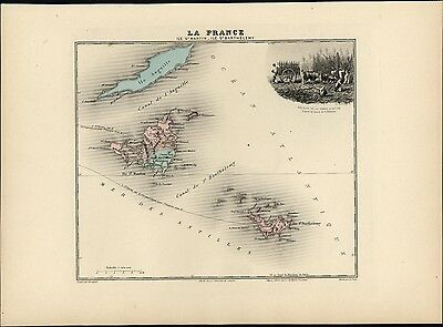 French St Martin Island Caribbean Sugar cane slavery 1903 decorative antique map