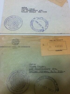 2 Paraguay Official Registered Airmail Covers 1957 & 1958