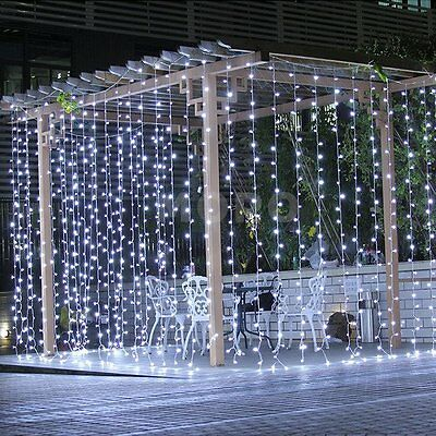 Waterproof 300/600Leds Xmas String Fairy Curtain Light Wedding Party Garden Dec