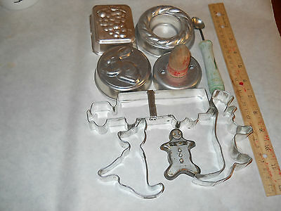 Vintage Metal Cookie Cutters Incl. 1 Transogram, Jello Molds & Melon Baller