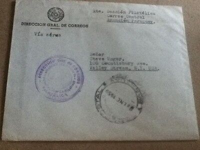 1959 Paraguay Official Airmail cover To New York With New Issue Enclosure