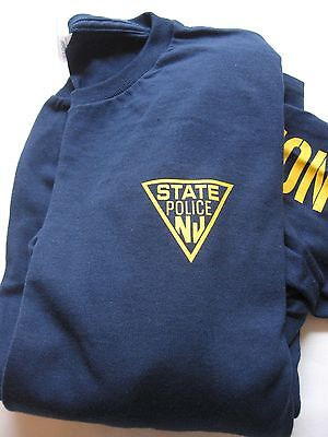 NEW JERSEY STATE POLICE-LONG SLEEVE - T SHIRT- NAVY-  Size - LARGE