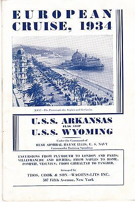 America Naval European Cruise, 1934.   U.S.S. Wyoming and Arkansas. 16 pages.
