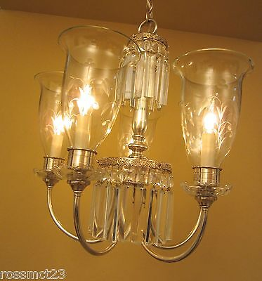 Vintage Chandelier circa 1940 silver plate with stunning glass shades