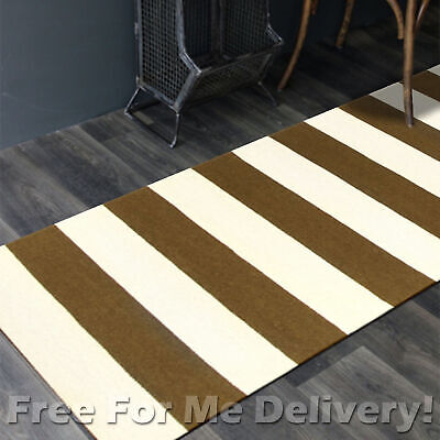 BAILEY WOOL OLIVE STRIPES WOVEN KILIM DHURRIE RUNNER 80x300cm **FREE DELIVERY**