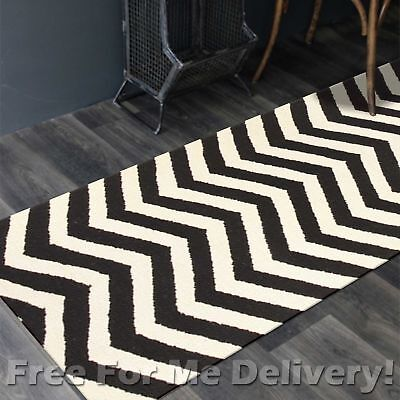 BAILEY WOOL BLACK ZAG-ZAG WOVEN KILIM DHURRIE RUNNER 80x400cm **FREE DELIVERY**