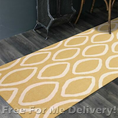 BAILEY WOOL YELLOW OPAL WOVEN KILIM DHURRIE RUNNER 80x400cm **FREE DELIVERY**