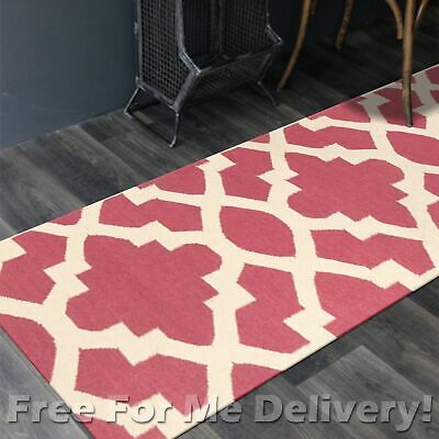 BAILEY WOOL PINK TRELLIS WOVEN KILIM DHURRIE RUNNER 80x400cm **FREE DELIVERY**