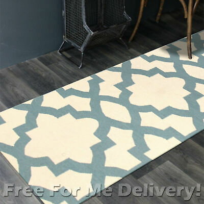 BAILEY WOOL BLUE TRELLIS WOVEN KILIM DHURRIE RUNNER 80x400cm **FREE DELIVERY**