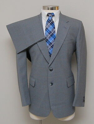 Vintage Mens 40R Cricketeer 2 Piece Grey with Brown/Blue Check Wool Suit