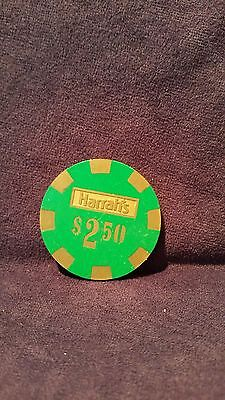 Vintage Harrah's Nevada $2.50 Green Poker Chip