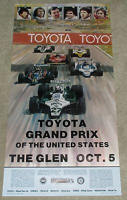 ORIGINAL 1980 OCT 5 WATKINS GLEN GRAND PRIX RACE POSTER VILLENEUVE,ANDRETTI etc