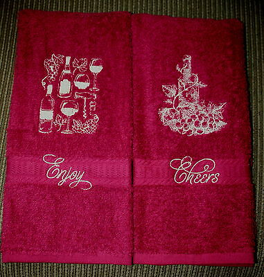 """Wine Bottles""Design 2 New Maroon Hand towels w/tan/gold tone thread embroidered"