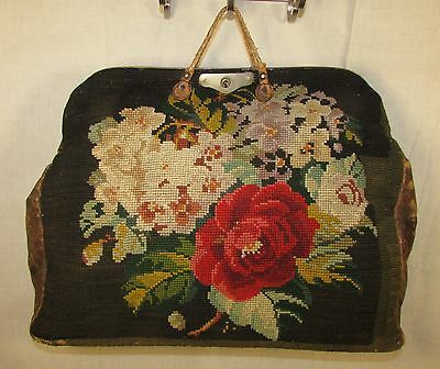 19Th Century Needlepoint Bag With Key, Leather Trim, Larger Size