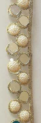 9 Meter Latest Indian Lace Trim Ethnic Mirror Pearl and Zari Stone work Golden