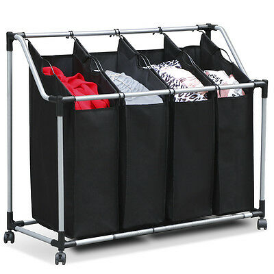 Trolley Storage Washing Clothes Box Black Laundry Basket 4 Sorter Hamper Bags