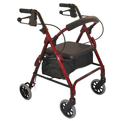Aluminum Foldable Rollator Walking Frame Outdoor Walker Aids Mobility Auscare