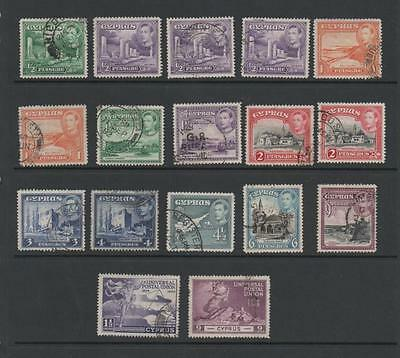 Cyprus GV1 Used Stamps.