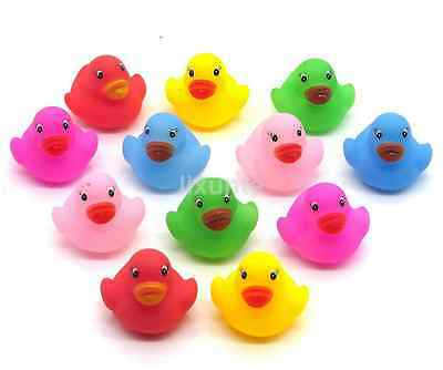 12 Mini Colorful Bathtime Rubber Duck Bath Toy Squeaky Water Play Fun baby UK