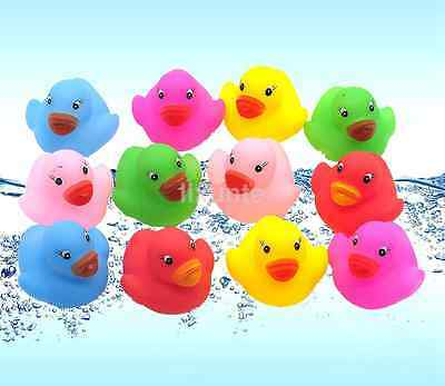 12 Mini Colorful Bathtime Rubber Duck Bath Toy Squeaky Water Play Fun baby US