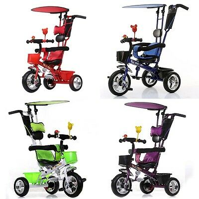 Baby Kids Children Smart Ride on Trike Tricycle 3 Wheel 4 In 1  Parent Handle
