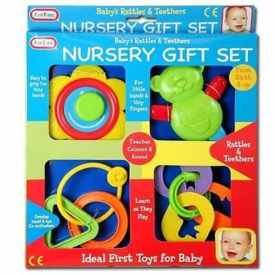4PC Fun Time Baby Rattle Teething Nursery Gift Set First Teethers Toys Birth Toy