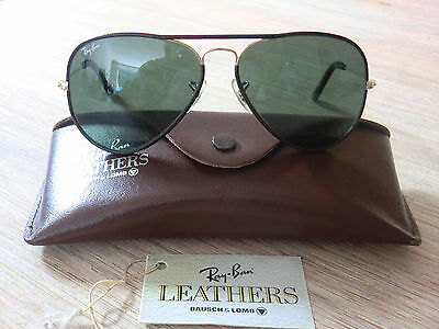 Top! Vintage Ray Ban USA B&L Aviator Leathers Brown/Gold 58 14 + orig. case