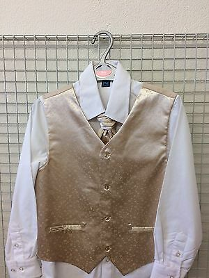 Boys  - Gold Waistcoat, Tie and White Shirt - Age 8 Years