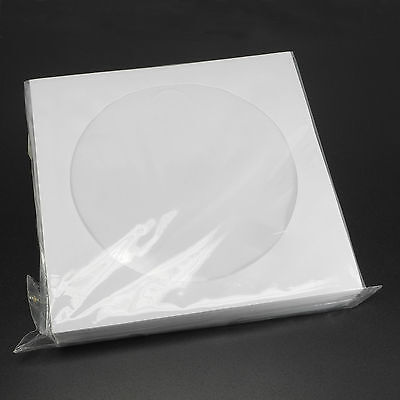 50pcs CD DVD White Paper Sleeve with Clear Window and Flap Envelopes