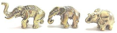 3 Model Elephant Miniature Brass Figurines Handcraft Home Decorate Gift Souvenir