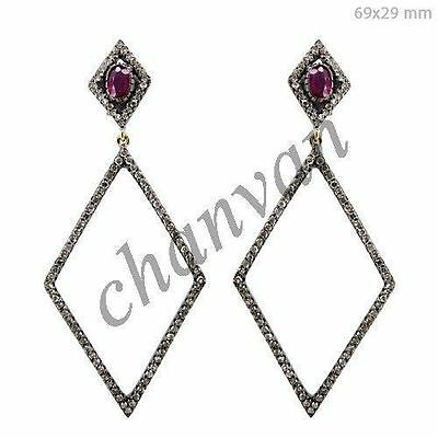 Vintage/Antique Look 3.51Ct Rose Cut Diamond Sterling Silver Earring Jewelry624