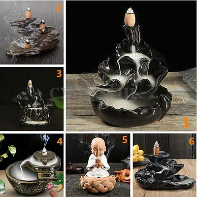 12 Type Porcelain Ceramic Incense Cone Burner Tibet Censer Tower Holder Backflow