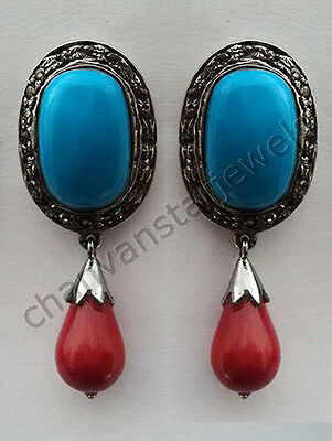 Vintage Style Handmade  Rose Cut Diamond .925 Silver Turquoise/Coral Earring CVS